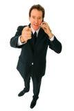 Geïsoleerde¯ Hogere Zakenman die op de Telefoon spreekt Stock Foto's