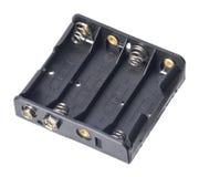 Geïsoleerde 4x aa-batterijhouder Royalty-vrije Stock Fotografie