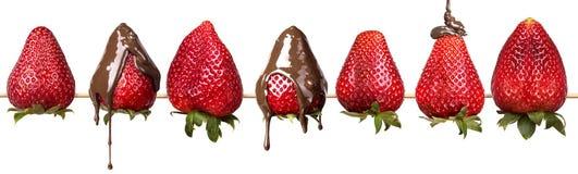 Geïsoleerde aardbeien en chocolade Stock Afbeelding