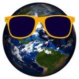 Geïsoleerde aarde Gele Zonnebril Stock Afbeeldingen