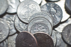 Geïsoleerde Amerikaanse muntstukkenachtergrond royalty-vrije stock afbeelding