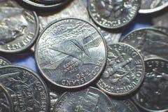 Geïsoleerde Amerikaanse muntstukkenachtergrond stock foto