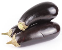 3 geïsoleerde aubergines Stock Foto's