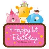 Geïsoleerde babydieren met eerste verjaardagsteken royalty-vrije stock foto's