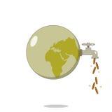 Geïsoleerde beeldverhaal vuile planeet voor cash flow stock illustratie