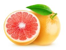 Geïsoleerde besnoeiingsgrapefruits stock foto's
