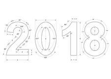 2018 Geïsoleerde Blauwdruk - vector illustratie