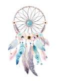 Geïsoleerde Boheemse dreamcatcher van de Waterverfdecoratie Boho feath stock illustratie