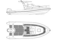 Geïsoleerde bootblauwdruk - royalty-vrije illustratie