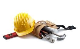 geïsoleerde bouwvakker met hulpmiddelen en blauwdruk op whi Royalty-vrije Stock Afbeelding