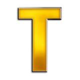 Geïsoleerde brief T in glanzend goud Royalty-vrije Stock Afbeeldingen