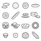 Geïsoleerde broodpictogrammen stock illustratie