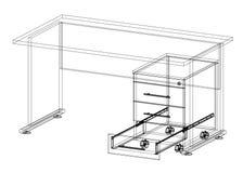 Geïsoleerde bureau 3D blauwdruk - Royalty-vrije Stock Foto's