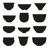 Geïsoleerde Chinese het silhouetreeks van de theekop Abstract ontwerpembleem Royalty-vrije Stock Afbeelding