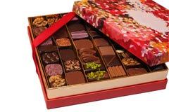 Geïsoleerde chocoladedoos Stock Foto's