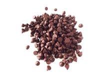 Geïsoleerde chocoladeschilfer, chocoladeschilfer, witte achtergrond Stock Foto's