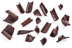 Geïsoleerde chocoladeschilfers Royalty-vrije Stock Foto's