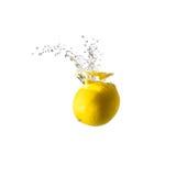 Geïsoleerde citroenplons op water, Stock Afbeelding
