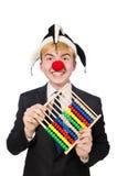 Geïsoleerde clown met telraam Stock Foto