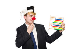 Geïsoleerde clown met telraam Stock Afbeelding
