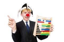 Geïsoleerde clown met telraam Royalty-vrije Stock Foto's