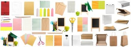 Geïsoleerde collage van verschillende kleurrijke kinderachtige kantoorbehoeften Stock Foto's