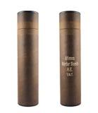 Geïsoleerde de buiscontainer van de mortierbom Stock Afbeelding