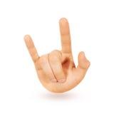 Geïsoleerde de hand van het rots-n-broodje zwaar metaalteken Het symbool van de muziekliefde Royalty-vrije Stock Foto's