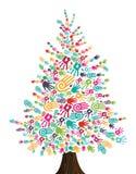 Geïsoleerde de handen van de Kerstboom van de diversiteit vector illustratie