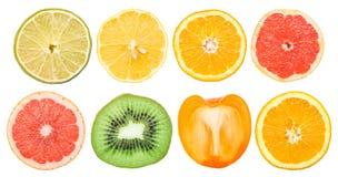 Geïsoleerde de Inzameling van fruitplakken stock fotografie