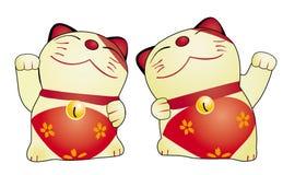 Geïsoleerde de kattenpop van Japan Stock Fotografie