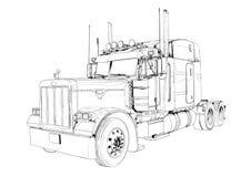 Geïsoleerde de kunsttekening van de vrachtwagenillustratie kleur Stock Afbeelding
