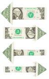 Geïsoleerde de pijl van de origamidollar royalty-vrije stock foto's