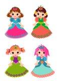 Geïsoleerde de reeks van het prinsesbeeldverhaal Stock Afbeelding