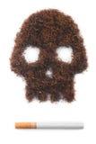 Geïsoleerde de schedelvorm van de tabak met sigaret Stock Afbeelding