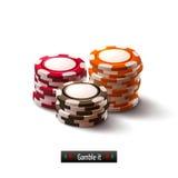 Geïsoleerde de spaanders van het casino Royalty-vrije Stock Foto's