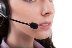 Geïsoleerde de telefoonexploitant van de call centresteun in hoofdtelefoon Stock Foto