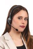 Geïsoleerde de telefoonexploitant van de call centresteun in hoofdtelefoon Royalty-vrije Stock Foto