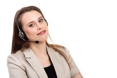 Geïsoleerde de telefoonexploitant van de call centresteun in hoofdtelefoon Stock Afbeeldingen