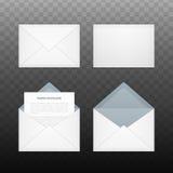 Geïsoleerde de vector opende en sloot witte enveloppen Royalty-vrije Stock Foto