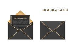 Geïsoleerde de vector opende en sloot zwarte en gouden enveloppen Stock Foto