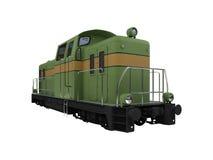Geïsoleerde diesel groene trein Royalty-vrije Stock Foto's