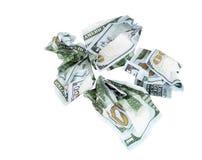 Geïsoleerde dollarrekening op een wit Royalty-vrije Stock Afbeeldingen