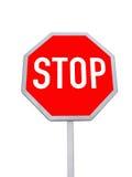 geïsoleerde eindeverkeersteken, rode kleur Stock Foto