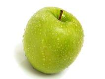 Geïsoleerde enige verse groene appel Stock Afbeeldingen
