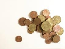 Geïsoleerde euro muntstukken Stock Fotografie