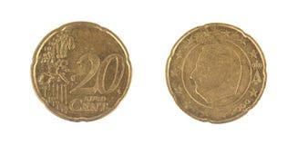 Geïsoleerde 20 Eurocentenmuntstukken Stock Foto's