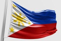 Geïsoleerde Filippijnse Vlag die 3d Realistische stof golven Stock Foto's