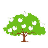 Geïsoleerde Fruit Groene Boom met Appelen Vectorillustratie Royalty-vrije Stock Foto's