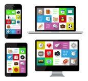 Geïsoleerde gadgets met infographics Royalty-vrije Stock Foto's